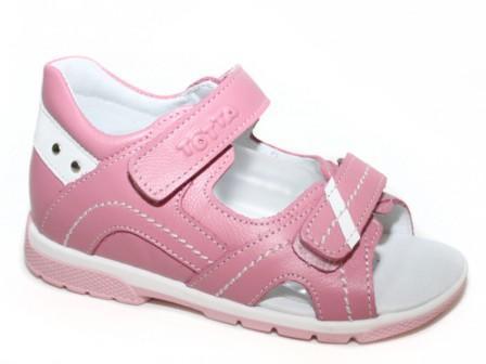 ТОТТА  Туфли  открытые малодетские, 0215/1-кожанная подкладка, открытый носок  0215/1-КП-117,99 (пион/белый)  (поступление 06.05.2020г.)  цена  2080руб.