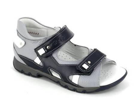 ТОТТА Туфли открытые дошкольные, М1150 кожанная подкладка 1150-711,99,2 (синий/белый/серый) (поступление 23.04.2021г.) цена 2490руб.