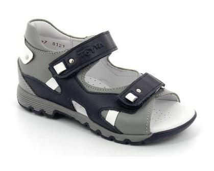 ТОТТА Туфли открытые дошкольные, М1150 кожанная подкладка, 1150-01,99,2 (серый/белый/синий) (поступление 28.07.2021г.) цена 2490руб.