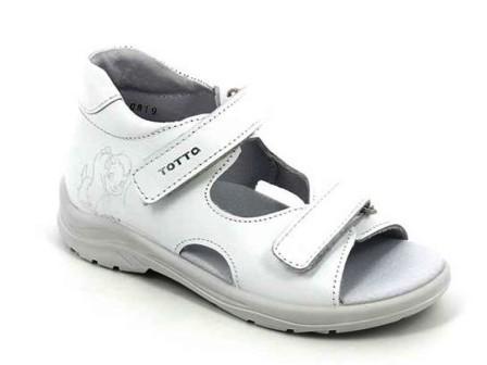 ТОТТА Туфли  открытые детские, м1144-кожанная подкладка, открытый носок 809  (1144-809 белый) (поступление 15.10.2020г.) цена 1550руб.