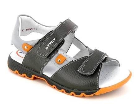 ТОТТА Туфли летние открытые школьные, М1137/1 кожанная подкладка, 137/1-721,711,15 (серый/оранжевый) (поступление 01.06.2021г.) цена 1990руб.