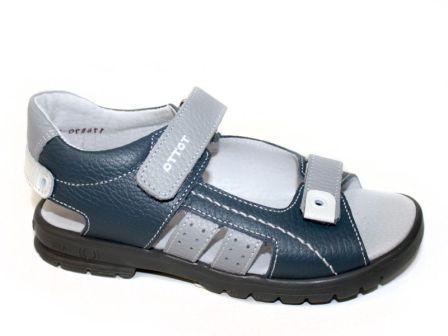 ТОТТА Туфли летние открытые школьные,  кожанная подкладка, открытый носок  1138/1-702,711,709 (джинс/серый/белы) (поступление 06.05.2020г.)  цена  1550руб.