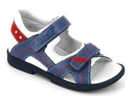 ТОТТА Туфли открытые детские, М10215-кожанная подкладка, открытый носок; 10215-кп-99,3,46 (белый/синий) (поступление 23.07.2020г.) цена 2250руб.