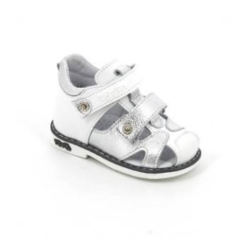 ТОТТА Туфли  открытые малодетские, М064/1-кожанная подкладка, закрытый носок; 064/1-кп-99,022 (белый/серебро) (поступление 23.07.2020г.) цена 2200руб.
