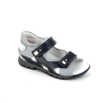 ТОТТО Туфли открытые школьные,  кожанная подкладка, открытый носок, 711,99,2  (1150/1-711,99,2 синий/белый/серый) (поступление 11.02.2021г.) цена 2600руб.