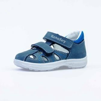 КОТОФЕЙ  122158-21 синий туфли летние ясельно-малодетские нат. кожа (поступление 01.04.2021г.) цена 2600руб.
