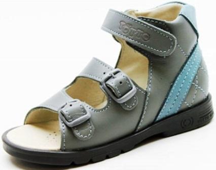 ТОТТА Туфли открытые малодетские, МЕД 024-1-кожаная подкладка, 024-1-01,09 (серый/голубой) (поступление 19.08.2021г.) цена 2400руб.