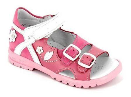 ТОТТА Туфли открытые детские, 1086-кожаная подкладка,  1086-117,87,99 (розовый/белый)  (поступление 16.09.2021г.) цена 2490руб.