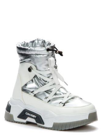 CROSBY ЗИМА 218339/06-03 белый/серебряный полусапоги  (поступление 21.09.2021г.) цена 2900руб.
