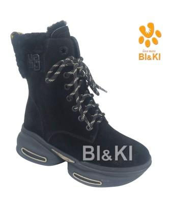 BI&KI Зима A-B00888-B Полусапоги р.33-38 Чёрный (поступление 30.09.2021г.) цена 4900руб.