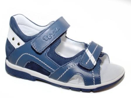 ТОТТА Туфли открытые малодетские, М0215/1-кожанная подкладка  0215/1-13,3,99 (джинс/белый) (поступление 23.04.2021г.) цена 2350руб.