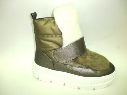 KEDDO Зима 998344/05-02 бронзовый/белый нейлон/иск.кожа детские (для девочек) ботинки    (поступление 08.10.2019г.)  цена  3050руб.
