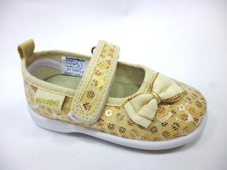 КОТОФЕЙ 131138-12 золотистый туфли ясельно-малодетские текстиль, 20-26  (поступление 04.11.2019г.)  цена  800руб.