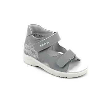 ТОТТА Туфли  открытые малодетские, 11/4-кожаная подкладка, 11/4-09 (серый) (поступление 16.09.2021г.) цена 1650руб.