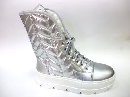 KEDDO Зима 998344/08-02 серебряный нейлон/иск.кожа детские (для девочек) ботинки   (поступление 08.10.2019г.)  цена  3150руб.