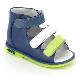 ТОТТА Туфли открытые ясельные, 050/1-кожанная подкладка, открытый носок  050/1-КП-3,43,99,064 (джинс/белый/лайм)  (поступление 06.05.2020г.)  цена  2100руб.
