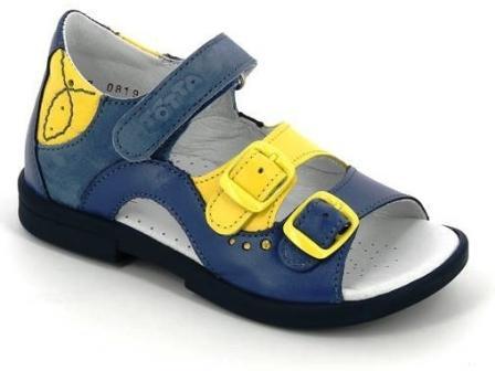 ТОТТА Туфли  открытые детские, М1027/2-кожанная подкладка, открытый носок; 3,65,43 (1027/2-3,65,43 (джинс/лимон) (поступление 15.10.2020г.) цена 2350руб.
