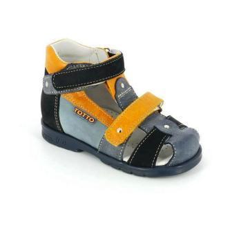 ТОТТА Туфли открытые ортопедические МЕД 048-1 (для ясельного возраста)  048-1-33,12,53,75 (синий/оранжевый) (поступление 23.04.2021г.) цена 2600руб.