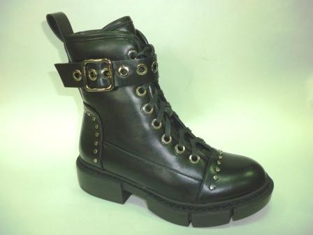 KEDDO  998377/01-01 черный иск.кожа детские (для девочек) ботинки   (поступление 27.08.2019г.)  цена  3150руб.