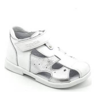 ТОТТА Туфли открытые детские, 069-кожанная подкладка, закрытый носок  069-КП-99,022 (белый/серебро) (поступление 06.05.2020г.)  цена 2300руб.