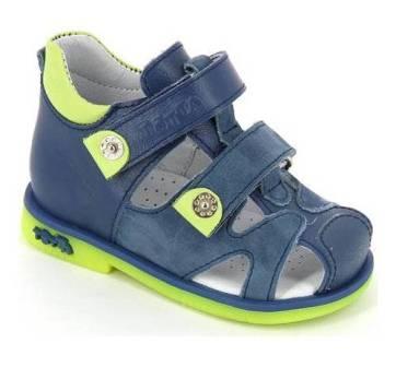 ТОТТА Туфли  открытые малодетские, М064/1-кожанная подкладка, закрытый носок;  064/1-кп-3,43,064 (джинс/лайм)  (поступление 23.07.2020г.) цена 2200руб.
