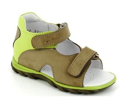 ТОТТА Туфли открытые малодетские, М0314-кожанная подкладка, 0314-98,064 (хаки/лайм) (поступление 01.06.2021г.) цена 1950руб.