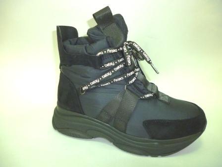 KEDDO  998428/02-01 черный нейлон/иск.замша детские (для девочек) ботинки   (поступление 27.08.2019г.)  цена  3300руб.