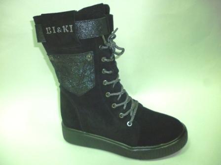 BI&KI A-B004-55-A Ботинки девоч.34-39 Чёрный  (поступление 30.09.2019г.)  цена  3700руб.