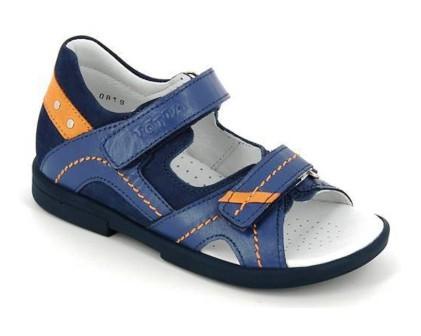 ТОТТА Туфли открытые детские, М10215-кожанная подкладка, 10215-13,3,15 (джинс/оранжевый) (поступление 01.06.2021г.) цена 2490руб.