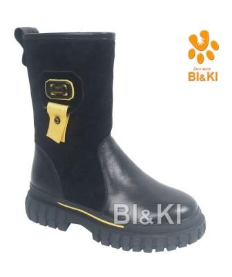 BI&KI Зима A-B00916-B Полусапоги р.33-38 Чёрный (поступление 30.09.2021г.) цена 4500руб.
