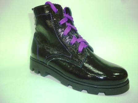 Лель  м 4-1176 Ботинки школьные байка (черный/фиолетовый)  м 4-1176 (поступление 02.09.2019г.)  цена  3200руб.