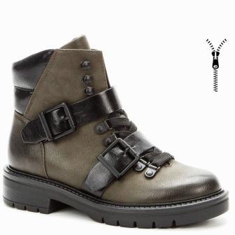 BETSY 908338/04-04 хаки/черный иск.кожа детские (для девочек) ботинки (поступление 31.08.2020г.) цена 3200руб.