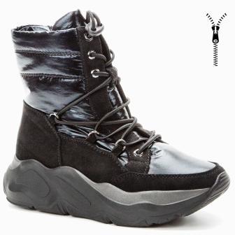 BETSY 908330/08-01 черный нейлон/иск.замша детские (для девочек) ботинки (поступление 30.09.2020г.) цена 3750руб.