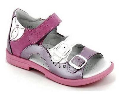 ТОТТА Туфли открытые детские, М1027/2-кожанная подкладка,1027/2-099,99,020 (сирень/белый) (поступление 01.06.2021г.) цена 2600руб.
