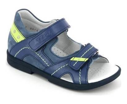ТОТТА Туфли открытые детские, 10215-кожанная подкладка, открытый носок  10215-КП-43,3,064 (джинс/лайм) (поступление 06.05.2020г.)  цена  2200руб.
