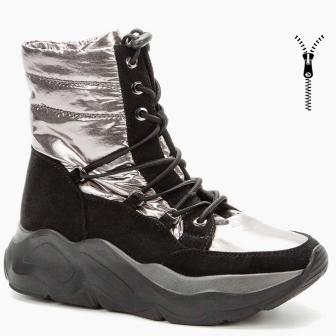 BETSY  908330/08-04 св.бронзовый/черный нейлон/иск.замша детские (для девочек) ботинки (поступление 30.09.2020г.) цена 3750руб.