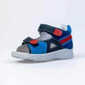 КОТОФЕЙ 322136-22 син-кра туфли летние малодетско-дошкольные нат. кожа (поступление 07.05.2021г.) цена 2750руб.