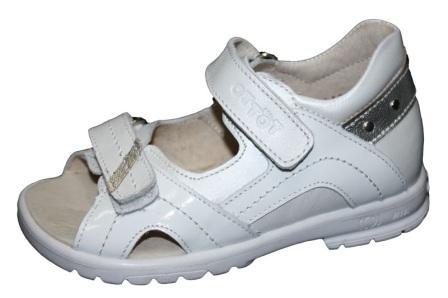 ТОТТА  Туфли открытые детские, 10215-кожанная подкладка, открытый носок  10215-Кп-9,19,022 (белый) (поступление 06.05.2020г.)  цена  2200руб.