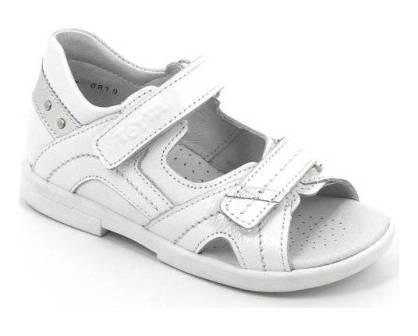 ТОТТА Туфли открытые детские, М10215-кожанная подкладка, открытый носок; 10215-кп-99,609,022 (белый/серебро)  (поступление 23.07.2020г.) цена 2250руб.