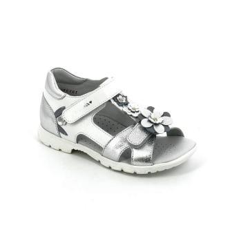 ТОТТА Туфли открытые школьные, М1131/1-кожанная подкладка, открытый носок; 609,022  (1131/1-609,022 (белый/серебро) (поступление 15.10.2020г.) цена 2400руб.