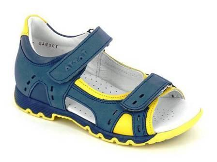 ТОТТА Туфли летние открытые дошкольные, М1151 кожанная подкладка, арт.1151-3,43,65 (джинс/голубой/лимон) (поступление 07.05.2021г.) цена 2490руб.