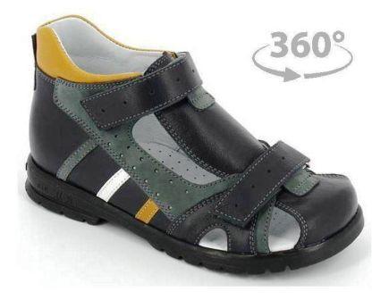 ТОТТА Туфли открытые дошкольные ,МЕД 1130-1-кожаная подкладка,   1130-1-2,61,75,99 (синий/серый) (поступление 01.06.2021г.) цена 2800руб.